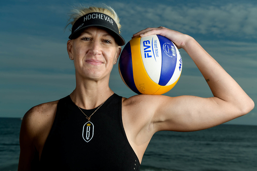 Brittany Hochevar, olympic beach volleyball player, poses on the beach for a lighting session in Malibu, Calif. on Nov. 10, 2017.