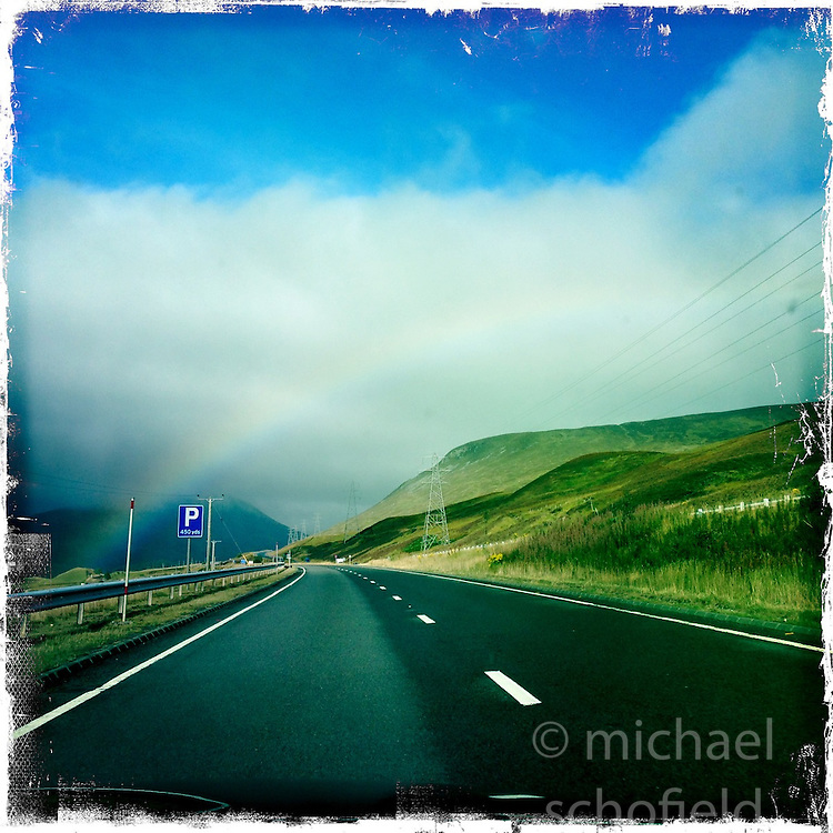 Rainbow and A9..Hipstamatic images taken on an Apple iPhone..©Michael Schofield.