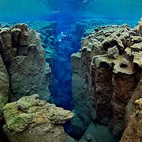 Diving, Silfra, Thingvellir lake, Thingvellir National Park, Iceland<br /> Model release by photographer