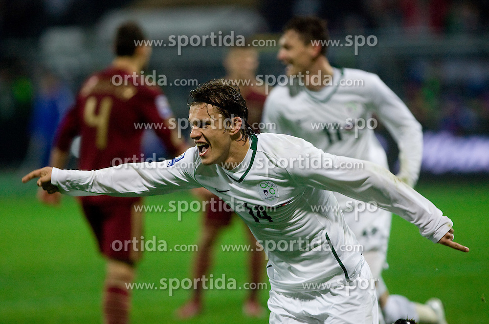 Zlatko Dedic  of Slovenia scored  at  FIFA World Cup Sout Africa 2010 Qualifying Second Play off match between Slovenia and Russia, on November 18, 2009, in Stadium Ljudski vrt, Maribor, Slovenia. (Photo by Vid Ponikvar / Sportida)