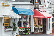Charming shops along Main Street, Chatham, Cape Cod, Massachusetts, USA.