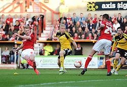 Swindon Town's Michael Smith scores a goal - Photo mandatory by-line: Dougie Allward/JMP - Mobile: 07966 386802 - 11/05/2015 - SPORT - Football - Swindon - County Ground - Swindon Town v Sheffield United - Sky Bet League One - Play-Off