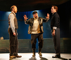 Edinburgh, Scotland, UK. 13 March, 2019.  Photo call of World Premiere of Local Hero stage adaptation at Royal Lyceum Theatre in Edinburgh. Musical adaptation written by Bill Forsyth and David Grieg with new music by Mark Knopfler, directed by John Crowley. Pictured; L-R Matthew Pidgeon, Adam Pearce, Damian Humbley. - Editorial Use Only