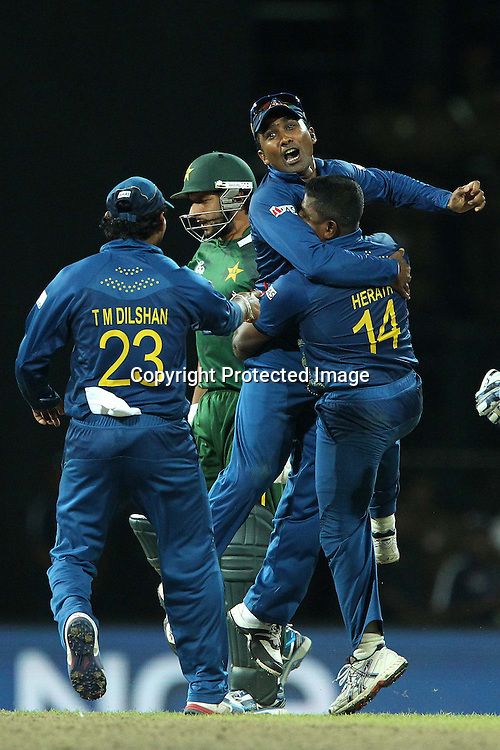 Mahela Jayawardene and Rangana Herath celebrate the wicket of  Shahid Afridi with Tilakaratne Dilshan during the ICC World Twenty20 semi final match between Sri Lanka and Pakistan held at the Premadasa Stadium in Colombo, Sri Lanka on the 4th October 2012<br /> <br /> Photo by Ron Gaunt/SPORTZPICS