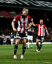 Lasse Vibe of Brentford celebrates scoring his sides second goal  - Mandatory by-line: Robbie Stephenson/JMP - 05/04/2016 - FOOTBALL - Griffin Park - Brentford, England - Brentford v Bolton Wanderers - Sky Bet Championship