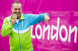 Francek Gorazd Tirsek of Slovenia celebrates after winning second place during the Men's R4-10m Air Rifle Standing shooting Final during Day 5 of the Summer Paralympic Games London 2012 on September 2, 2012, in Royal Artillery Barracks, London, Great Britain. (Photo by Vid Ponikvar / Sportida.com)