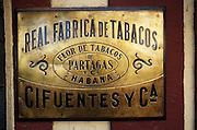21 Aug 1996, Havana, Cuba --- Brass Sign at Partagas Cigar Factory --- Image by © Jeremy Horner/CORBIS