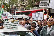 As Indians celebrate their Independence Day, Kashmiris and Pakistanis protest outside India House, the Indian High Commission in London's Aldwych, about Indian PM Narendra Modi's recent decision to strip Indian-administered Kashmir of its special status, London, on 15th August 2019, in London, England.