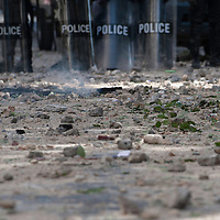 "Street after clashes between Anti-government protesters and police on February 19, 2012. Clashes erupted outside a mosque in Dakar, which demonstrators said had been ""profaned"" when it was hit by tear gas grenades thrown by a police officer on February 17. Senegalese riot police fired volleys of tear gas and rubber bullets at stone-throwing demonstrators after prayers at a mosque in the Senegalese capital on February 19.©Sylvain Cherkaoui"