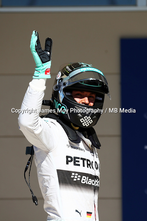 Nico Rosberg (GER) Mercedes AMG F1 celebrates his pole position in parc ferme.<br /> United States Grand Prix, Saturday 1st November 2014. Circuit of the Americas, Austin, Texas, USA.