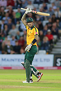 Alex Hales of Nottinghamshire Outlaws reaches 50 runs during the Vitality T20 Blast North Group match between Nottinghamshire County Cricket Club and Worcestershire County Cricket Club at Trent Bridge, West Bridgford, United Kingdon on 18 July 2019.