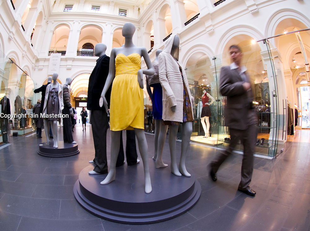 Upmarket fashion shopping mall in former historic General Post Office building in Melbourne Australia