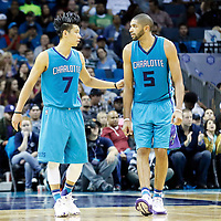 01 November 2015: Charlotte Hornets guard Jeremy Lin (7) is seen next to Charlotte Hornets forward Nicolas Batum (5) during the Atlanta Hawks 94-92 victory over the Charlotte Hornets, at the Time Warner Cable Arena, in Charlotte, North Carolina, USA.