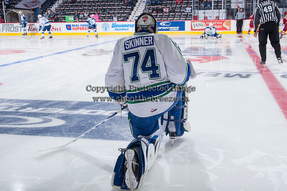 REGINA, SK - MAY 19: Stuart Skinner #74 of Swift Current Broncos stretches during warm up against the Acadie-Bathurst Titan at the Brandt Centre on May 19, 2018 in Regina, Canada. (Photo by Marissa Baecker/CHL Images)