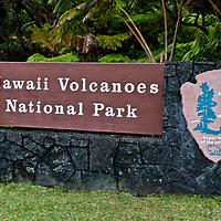 Hawaii Volcanos National Park sign, Big Island Hawaii