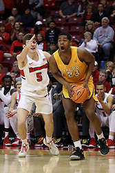 27 January 2018:  Mileek McMillan defended by Matt Hein during a College mens basketball game between the Valparaiso Crusaders and Illinois State Redbirds in Redbird Arena, Normal IL