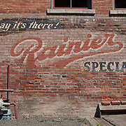 Vintage Rainier Beer sign on brick wall, Fairhaven, Bellingham, Washington
