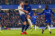 Tottenham Hotspur midfielder Eric Dier (15) and Chelsea defender Emerson Palmieri (33) come face to face during the EFL Cup semi final second leg match between Chelsea and Tottenham Hotspur at Stamford Bridge, London, England on 24 January 2019.