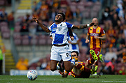 Ellis Harrison of Bristol Rovers is fouled by Romain Vincelot of Bradford City during the EFL Sky Bet League 1 match between Bradford City and Bristol Rovers at the Northern Commercials Stadium, Bradford, England on 2 September 2017. Photo by Paul Thompson.