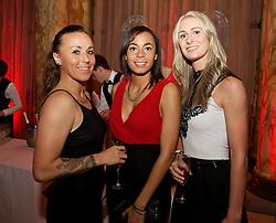CARDIFF, WALES - Monday, October 5, 2015: Wales' Natasha Harding, Naomi Clipston and Rhiannon Roberts during the FAW Awards Dinner Dinner at Cardiff City Hall. (Pic by David Rawcliffe/Propaganda)