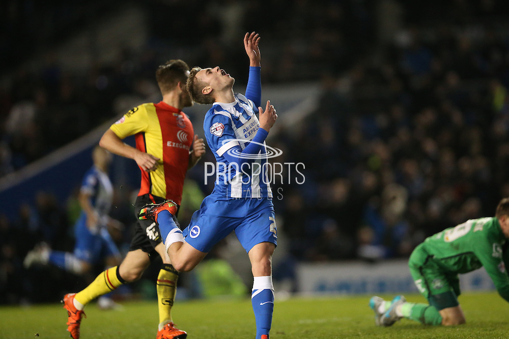 Brighton striker (on loan from Manchester United), James Wilson (21) shows anguish after missing a chance on his debut during the Sky Bet Championship match between Brighton and Hove Albion and Birmingham City at the American Express Community Stadium, Brighton and Hove, England on 28 November 2015.