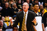 January 2nd, 2014:  Colorado Buffaloes head coach Tad Boyle shows a referee his objection to a call in the second half of the NCAA Basketball game between the Oregon State Beavers and the University of Colorado Buffaloes at the Coors Events Center in Boulder, Colorado