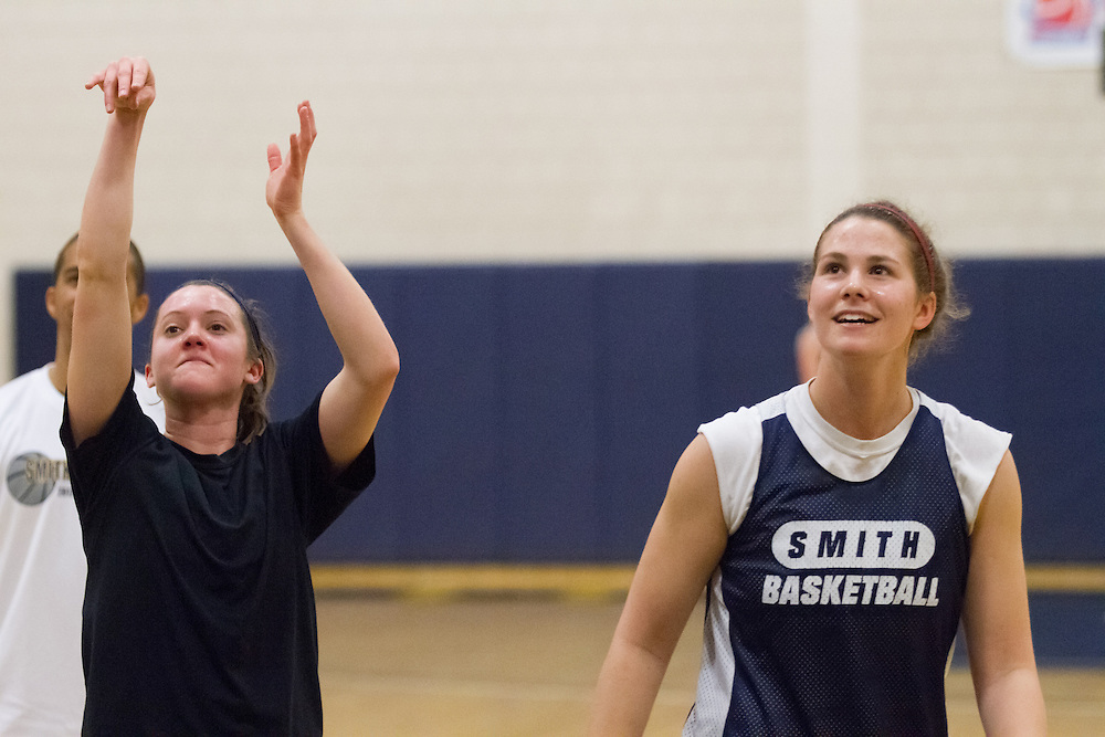 Two of the Smith College Pioneers' top scorers Devon Quattrocchi (L) and Rosa Drummond shoot free throws during team practice on Wednesday, February 27, 2013. The Pioneers are in the NCAA tournament for the first time and will play Southern Maine Huskies on Friday.  (Matthew Cavanaugh for The Boston Globe)The Smith College women's basketball team practices on the Senda Berenson Court at Smith College on Wednesday, February 27, 2013.  (Photo by Matthew Cavanaugh)