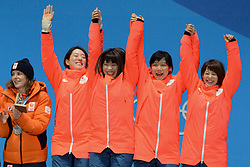 February 22, 2018 - Pyeongchang, South Korea - The speed skating team fromJapan celebrates getting the gold medal in the Ladies' Team Pursuit event in the PyeongChang Olympic Games. .Team members : Miho TAKAGI  Ayaka KIKUCHI  Ayano SATO Nana TAKAGI. (Credit Image: © Christopher Levy via ZUMA Wire)