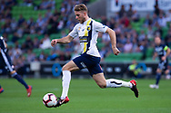 MELBOURNE, AUSTRALIA - APRIL 14: Andrew Hoole (7) of the Mariners controls the ball upfield during round 25 of the Hyundai A-League match between Melbourne Victory and Central Coast Mariners on April 14, 2019 at AAMI Park in Melbourne, Australia. (Photo by Speed Media/Icon Sportswire)