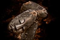 Zimsculpt at Van Dusen Botanical Garden: Difficult Decision - lapidolite sculpture by Walter Mariga (original sculpture available at www.zimsculpt.com)