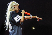 Die Antwoord, Yolandi Visser singing at the Growlers Beach Goth music festival.