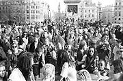Ravers dancing, 1st Criminal Justice March, Trafalgar Square, London, UK, 1st of May 1994.