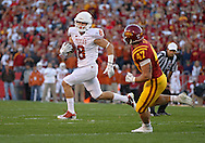 October 01, 2011: Texas Longhorns wide receiver Jaxon Shipley (8) tries to get around Iowa State Cyclones linebacker A.J. Klein (47) during the first half of the game between the Iowa State Cyclones and the Texas Longhorns at Jack Trice Stadium in Ames, Iowa on Saturday, October 1, 2011. Texas defeated Iowa State 37-14.