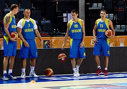 Oleksandr Lypovyu, ... and Kyrylo Fesenko during practice session of Ukraine's National basketball team 1 day before Eurobasket Lithuania 2011, on August 29, 2011, in Arena Svyturio, Klaipeda, Lithuania. (Photo by Vid Ponikvar / Sportida)