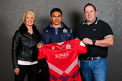 David Lemi of Bristol Rugby poses with his sponsors during the Bristol Sport player sponsor evening - Rogan/JMP - 19/03/2018 - SPORT - Ashton Gate Stadium - Bristol, England - Big Sports Breakfast 2017.