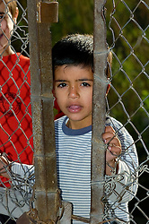 Iraqi Civilian child looks through a gap in a closed gate in  Basra City as the Iraqi commuter morning rush hour begins passing British Troops who are carrying out an IED sweep in the area. March 2005