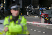 36 hours after the London Bridge and Borough Market terrorist attack, the capital returns to normality and Londoners return to their first day to work to see for themselves the scenes of the event, on Monday 5th June 2017, in the south London borough of Southwark, England. Seven people were killed and many others left with life-changing injuries - but the British spirit of defiance and to carry on with every day life, endures.