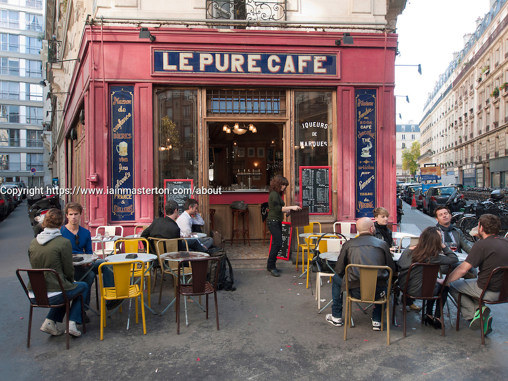 Typical cafe on street corner in Marais district of Paris France