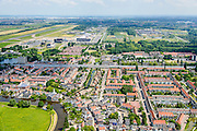 Nederland, Zuid-Holland, Rotterdam, 10-06-2015; stadsdeel Overschie, met Delftse Schie en de RK waterstaatkerk Petrus' Bandenkerk. A13 met geluidsscherm, vliegveld Zestienhoven in de achtergrond.<br /> Overschie with river Schie, northern Rotterdam.<br /> <br /> luchtfoto (toeslag op standard tarieven);<br /> aerial photo (additional fee required);<br /> copyright foto/photo Siebe Swart