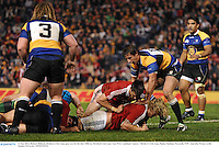 11 June 2013; Richard Hibbard, British & Irish Lions, goes over for his side's fifth try. British & Irish Lions Tour 2013, Combined Country v British & Irish Lions, Hunter Stadium, Newcastle, NSW, Australia. Picture credit: Stephen McCarthy / SPORTSFILE