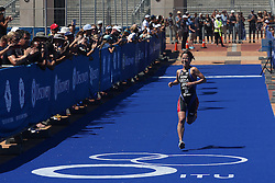 Ai Ueda of Japan celebrates finishing 3rd during the Elite Women race of the Discovery Triathlon World Cup Cape Town leg held at Green Point in Cape Town, South Africa on the 11th February 2017.<br /> <br /> Photo by Shaun Roy/RealTime Images
