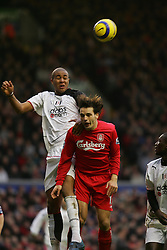 LIVERPOOL, ENGLAND - SATURDAY FEBRUARY 5th 2005: Liverpool's Fernando Morientes and Fulham's Zat Knight during the Premiership match at Anfield. (Pic by David Rawcliffe/Propaganda)