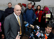 Juror number 4 talks the the media about his guilty verdict in the Brian David Mitchell trial outside federal court Friday, Dec. 10 2010 in Salt Lake City. Mitchell was found guilty for the June 5 2002 abduction of Elizabeth Smart. (AP Photo/Colin E Braley)