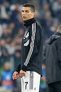 Juventus Forward Cristiano Ronaldo in warm up during the Champions League Group H match between Juventus FC and Manchester United at the Allianz Stadium, Turin, Italy on 7 November 2018.