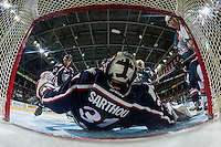 KELOWNA, CANADA - MARCH 4: Evan Sarthou #31 of the Tri-City Americans misses a save against the Kelowna Rockets on March 4, 2017 at Prospera Place in Kelowna, British Columbia, Canada.  (Photo by Marissa Baecker/Shoot the Breeze)  *** Local Caption ***