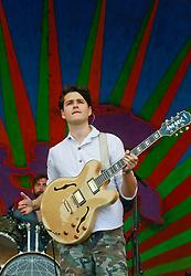 27 April 2014. New Orleans, Louisiana.<br /> Ezra Koenig of Vampire Weekend at the New Orleans Jazz and Heritage Festival. <br /> Photo; Charlie Varley/varleypix.com