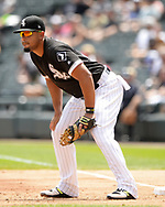 CHICAGO - AUGUST 02:  Jose Abreu #79 of the Chicago White Sox fields against the Kansas City Royals on August 2, 2018 at Guaranteed Rate Field in Chicago, Illinois.  (Photo by Ron Vesely)  Subject: Jose Abreu
