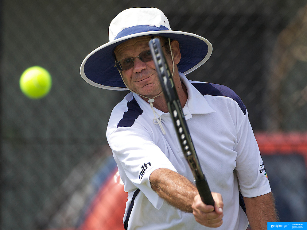 Clive Kileff, Zimbabwe, in action in the 65 Mens Singles during the 2009 ITF Super-Seniors World Team and Individual Championships at Perth, Western Australia, between 2-15th November, 2009.