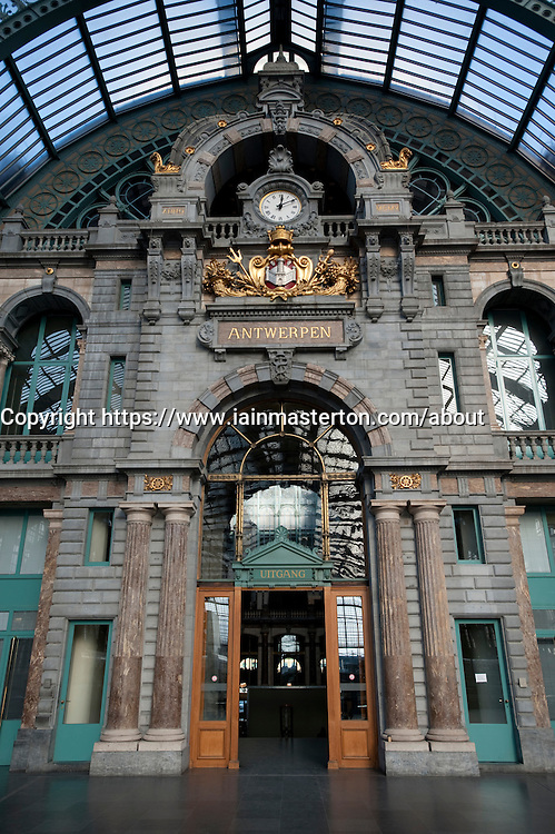 Interior of Antwerp Central railway station in Belgium