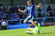 Callum Camps, Chris Forrester during the EFL Sky Bet League 1 match between Rochdale and Peterborough United at Spotland, Rochdale, England on 6 August 2016. Photo by Daniel Youngs.